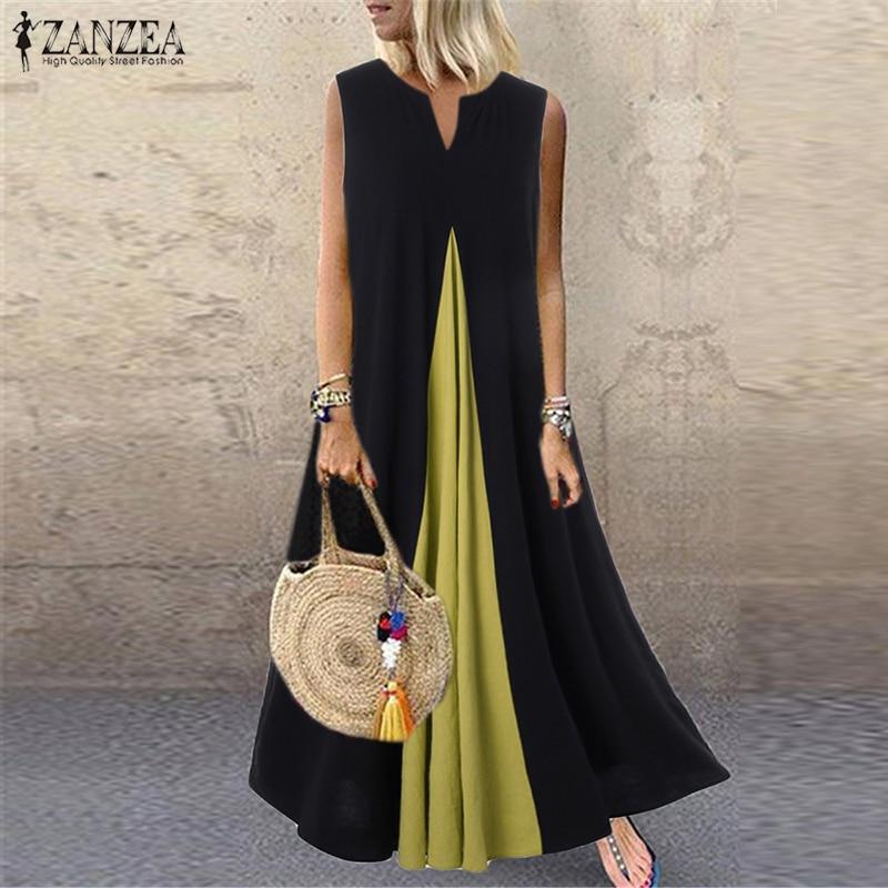 S 5XL ZANZEA Fashion Pacthwork Sundress 2019 Summer Sleeveless Party Vestidos Women Solid Cotton Long Dress Femme Tunic Robe