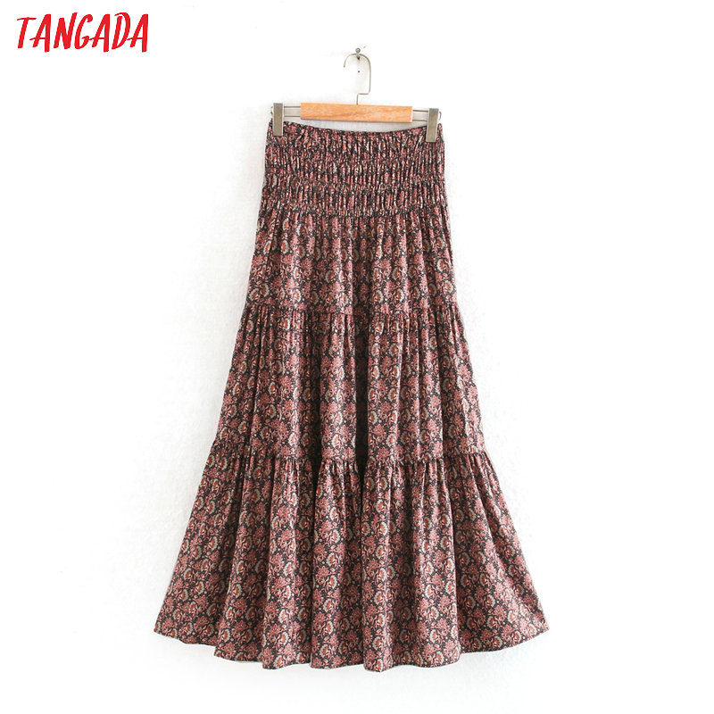 Tangada Women Floral Pleated Beach Long Skirt Faldas Mujer Vintage Stretchy Waist Ladies Elegant Chic Skirts 2W07