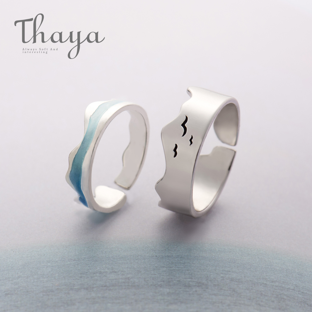 Thaya Ends Of The Earth Design Finger Rings S925 Silver Sky Blue Wave jellyfish Tropical Ring Women Turkish Elegant Jewelry