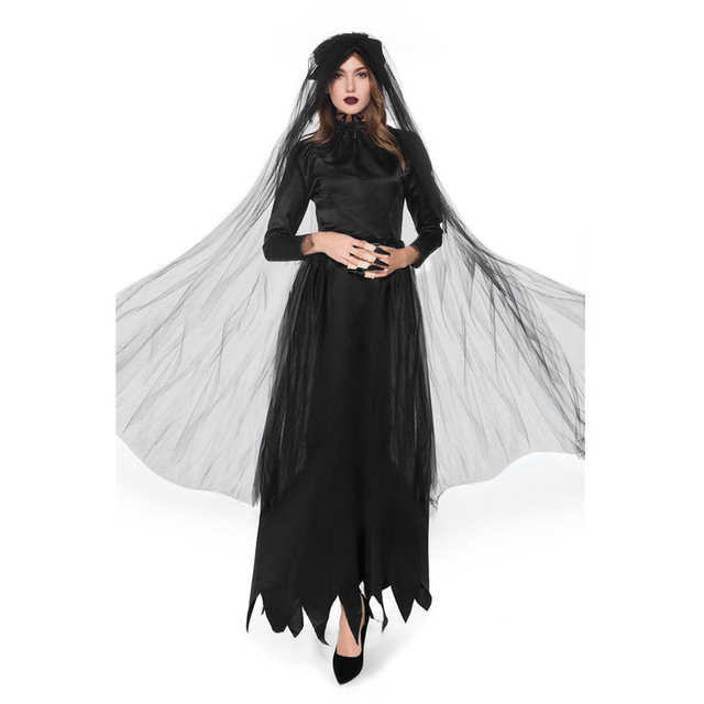 Us 18 64 39 Off Women Witch Vampire Devil Ghost Bride Dress Black Cosplay Costume Role Play Scary Female Adult Costume Halloween Cosplay Costume On