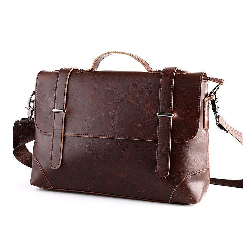Crazy Horse Leather Men's Briefcase Messenger Bag For Gentlemen Document Case Portfolio Office Bag