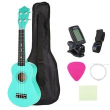 21 Inch Soprano Ukulele Kids Green Acoustic Mini Guitar Instrument + Gig Bag