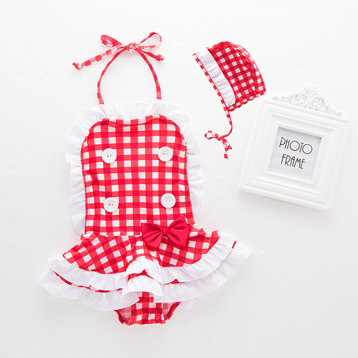 Red And White Plaid Children One-piece-Bathing Suit One-piece Swimwear + Swim Cap