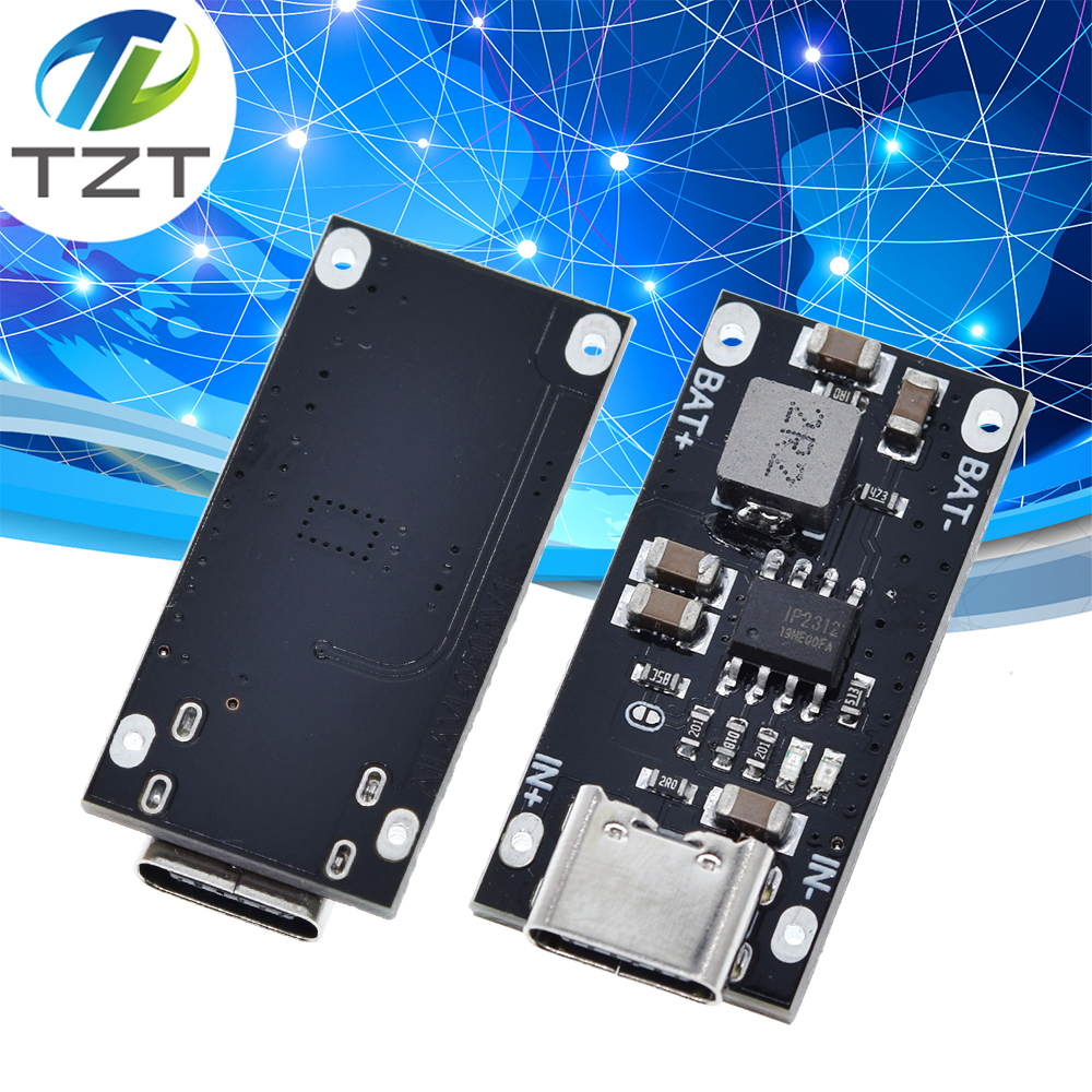Высоковольтная литиевая батарея Тип C с USB-входом, 3 А, полимерная Тройная литиевая батарея, быстрая зарядка, плата IP2312 CC/CV, режим от 5 в до 4,2 в