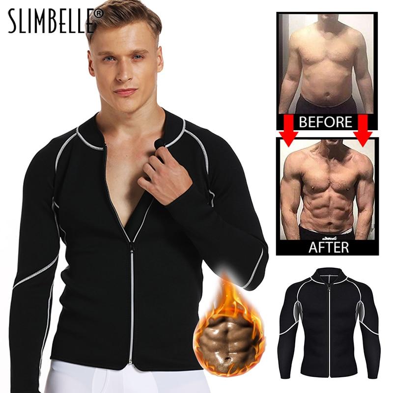 Men Shaper Long Sleeve Sweat Neoprene Weight Loss Sauna Suit Waist Trainer Vest Black Workout Shirt Body Shaper Fitness Shapewea