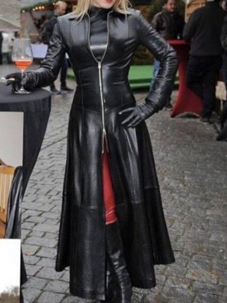 Женское длинное пальто из искусственной кожи байкерская куртка