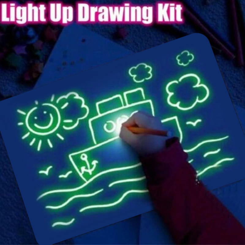 1PC A3 A4 A5 LED Luminous Drawing Board Graffiti Doodle Drawing Tablet Magic Draw With Light-Fun Fluorescent Pen Educational Toy