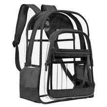 Clear Backpack Transparent Multi-Pockets Outdoor Laptop Daypack Unisex Travel Rucksack