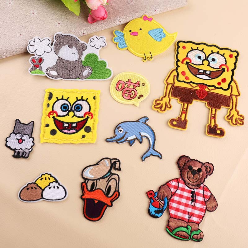 20pcs/lot Embroidery Patches Letters Clothing Decoration Accessories Cute Cartoon Animals Bear Duck Iron Heat Transfer Applique