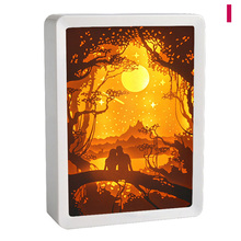 3D Night Lamp Paper Pattern Painting LED Table Shadow Box Frame Party Home Decor WWO66