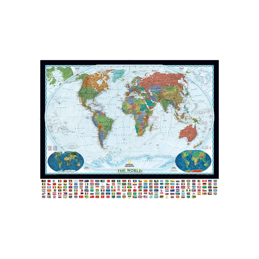 150x100cm The World Physical Map With World Land Cover And Landforms Non-woven Map With National Flag For Education