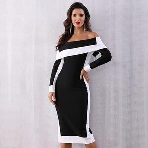Image 3 - Seamyla New Long Sleeve Bodycon Bandage Dresses Women Vestidos 2019 Runway Party Dress Midi Celebrity Sexy Clubwear Dress Slim