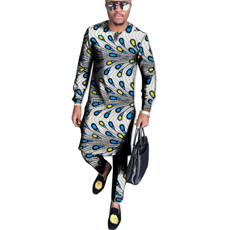 African Clothes Custom Made Men Ankara Outfits Fashion Male Full Sleeve Tops With Trousers Men's Pant Set Africa Clothing