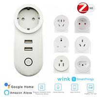 ZIGBEE 3 0 Smart Home Wifi Buchse Intelligente Schalter 2 USB Port 100-240V Voice Control Stecker Arbeit Mit smartThing Wink Echo Plus