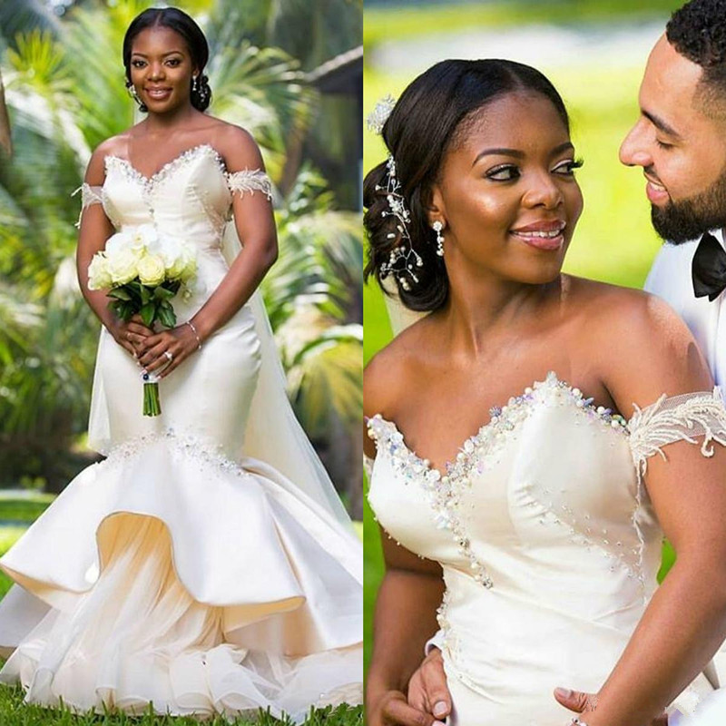 2019 Luxury South African Sweetheart Mermaid Wedding Dresses Beads Plus Size Arabic Country Bridal Wedding Gown Vestido De Novia