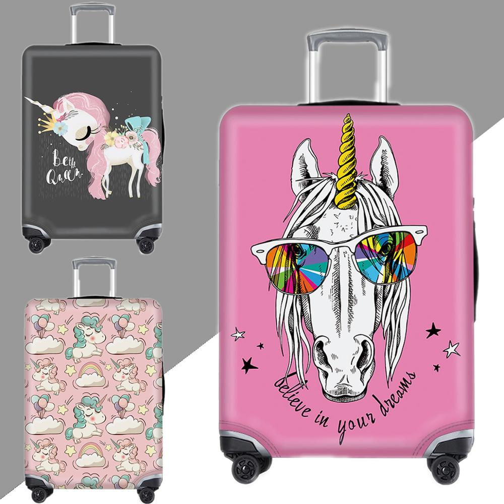 Kawaii 3D Luggage Cover Unicorn Protective Case Waterproof Thicken Elastic Suitcase Cover Apply 18-32Inch XL Travel Accessories