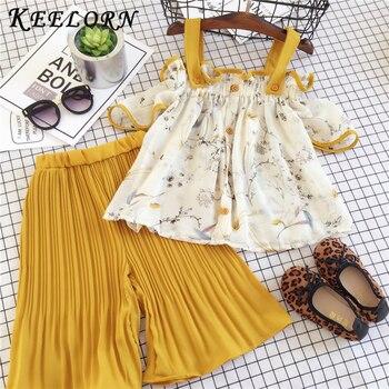 Keelorn Girls Clothing Sets Summer Kids lovely Sweet Streetwear outfits Splicing Design T-shirt+long Pants 2Pcs Girls Clothes