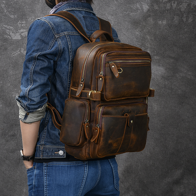 New retrò crazy horse di cuoio dello zaino degli uomini di multi tasca sacchetto di spalla degli uomini di cuoio larga cinturino in vera pelle di viaggio zaini - 2
