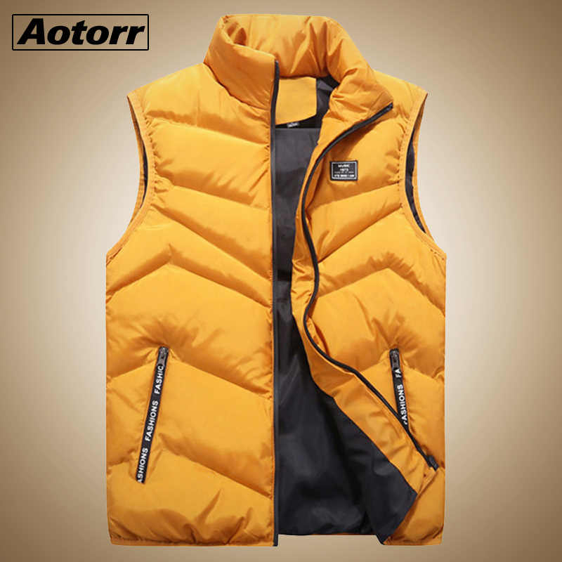メンズジャケットノースリーブベストパーカー冬 2019 ファッションカジュアルコート男性綿が詰め男性のベスト男性厚みベスト 4XL