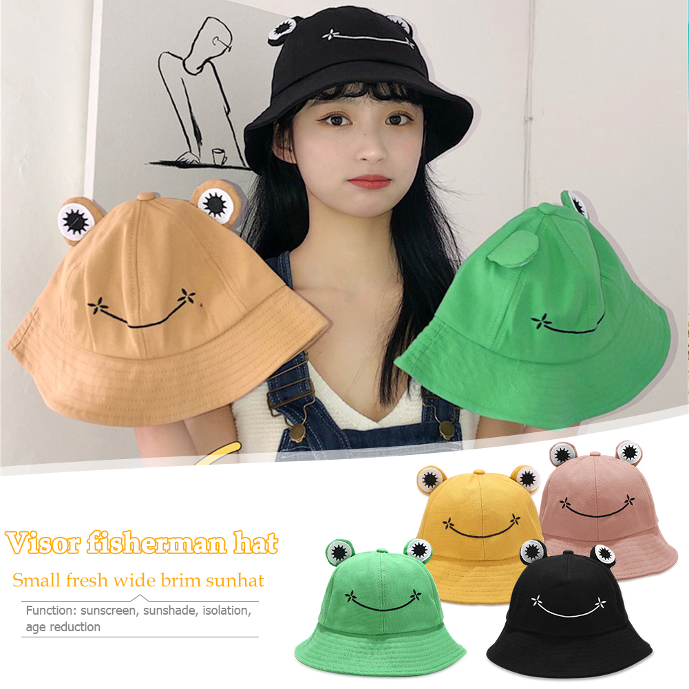 Cartoon FROG Bucket Hats Adult Outdoor Leisure Wide Brimmed Sun Hat Japanese Style Big Eyes Fisherman Cap Hat Present