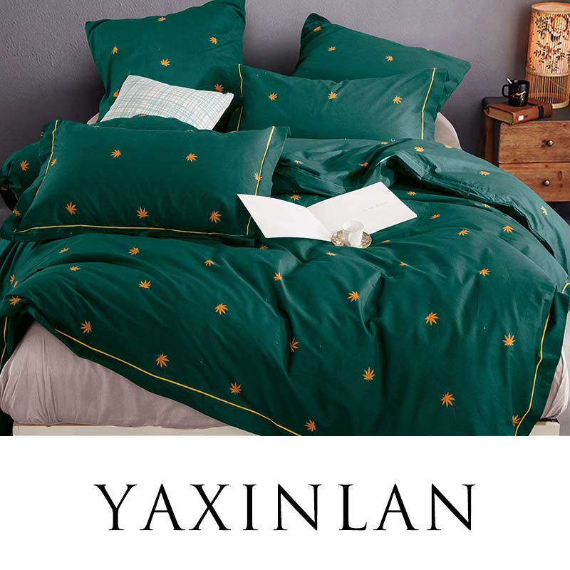 YAXINLAN Bedding Set Pure Color Pure Cotton Plant Flowers Fresh Patterns Bed Sheet Quilt Cover Pillowcase 4-7pcs