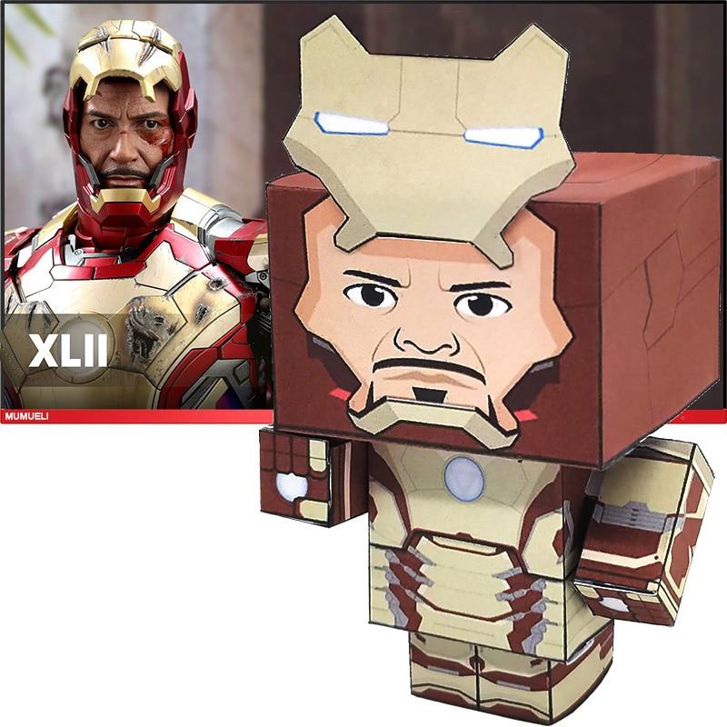 No-glue Marvel Avengers Iron Man Mark-42 Folding 3D Paper Model Papercraft Anime Figure DIY Cubee Kids Adult Craft Toys CS-003