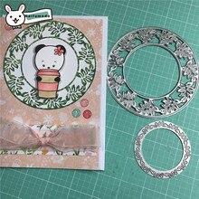 Naifumodo Cutting Dies Metal Leaf Circle Die Scrapbooking Album Card Making Embossing Stencil Decor Diecuts