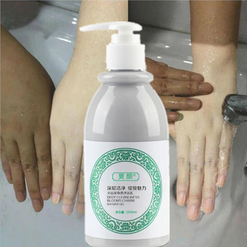 260ML Whitening Body Shower Gel Volcanic Mud Shower Gels Whole Body Fast Whitening Body Wash Remove Gel Whitening Cleaning Gel
