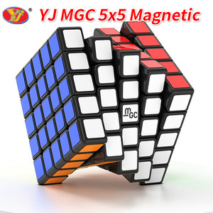 Image 1 - New YJ MGC 5x5 Black Speed Cube YJ MGC Stickerless Magnetic 5x5x5 Magico Cubes Puzzle Yongjun Toys for Children