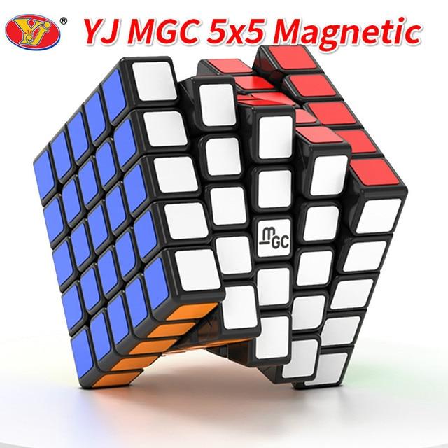 New YJ MGC 5x5 Black Speed Cube YJ MGC Stickerless Magnetic 5x5x5 Magico Cubes Puzzle Yongjun Toys for Children