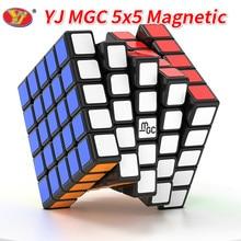 Novo yj mgc 5x5 preto velocidade cubo yj mgc stickerless magnético 5x5x5 magico cubos puzzle yongjun brinquedos para crianças