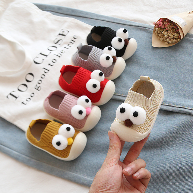 2020 Children Toddler Shoes Baby Breathable Shoes Non-slip Shoes Sock Floor Shoes Big Eyes Foot Socks 6colors 22-28 Zy07 TLB