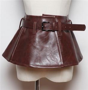 Image 2 - Женский ремень с баской CETIRI, черный пояс из искусственной кожи с бантом, широкий пояс для платья