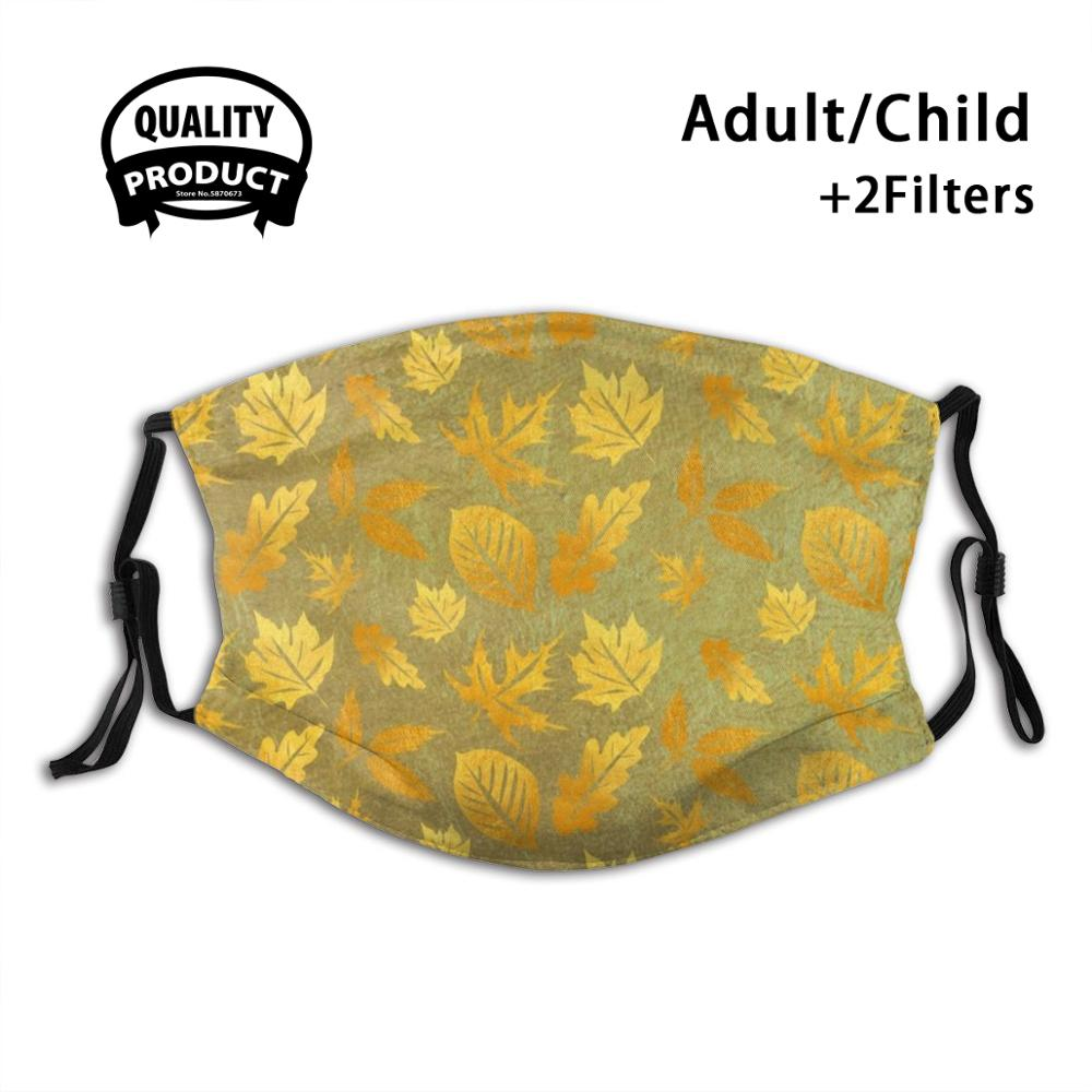 Golden Leaves Summer Hot Sale Print Diy Masks Golden Leaves Glamour Cool Smart Ele