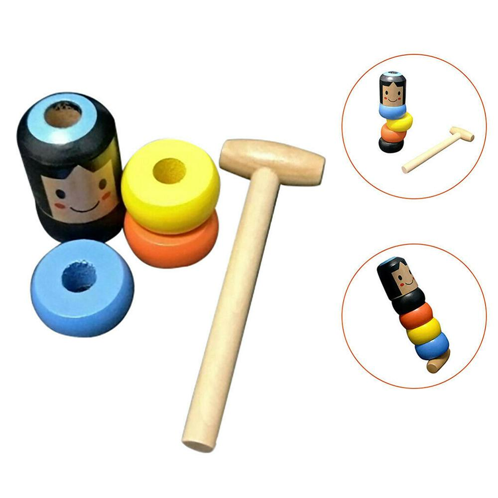 1set Immortal Daruma Unbreakable Wooden Man Magic Toy Magic Tricks Close Up Street Stage Magic Props Fun Toy Accessory