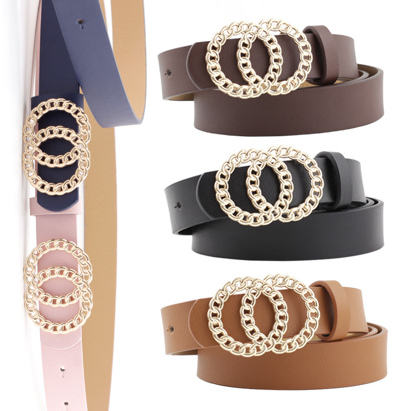 2020 New Women's Double Circle Ring Buckle Belt For Jeans Vintage Fashion Casual All-Match Spring And Summer Dress Waistband