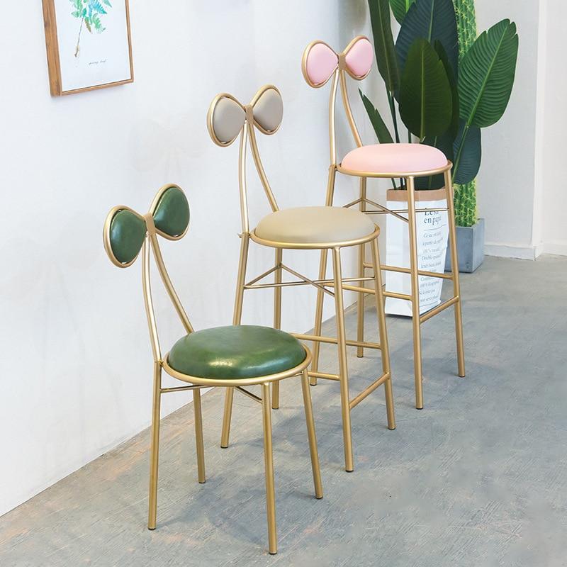 Nordic Bar Chair Iron Bar Counter Chair Bar High Footstool Modern Minimalist For Sale Nordic Furniture Gold Metal Chair