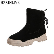 HZXINLIVE Pelz Schnee Stiefel Frauen Hohe Qualität Flock Gummi Winter Stiefel Damen Warme Weiche Ankle Booties Casual Schuhe Botas Mujer(China)