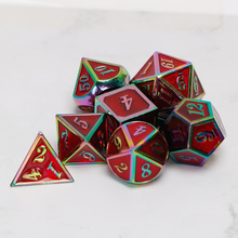 Metal Dnd Dice Sets Dungeons And Dragon D&D MTG RPG Polyhedral Role Playing Red Rainbow Dice Gift 7PCS D20 D12 D10 D8 D6 D4