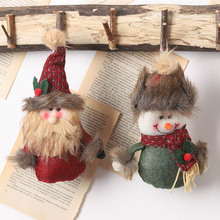 1pcs Xmas Plush Santa Claus Snowman Doll Pendants DIY Christmas Hanging Ornaments Holiday New Year Party Decoration Gift Toys