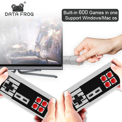 DATA FROG 8 Bits Wireless Handheld Video Game Console Build In 600 Classic Games Mini Retro Game Console TV OutPut Dual Players