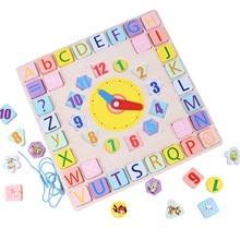 Clock Matching-Clock-Toy Puzzles Montessori Wooden Digital Educational Cartoon for Gadgets