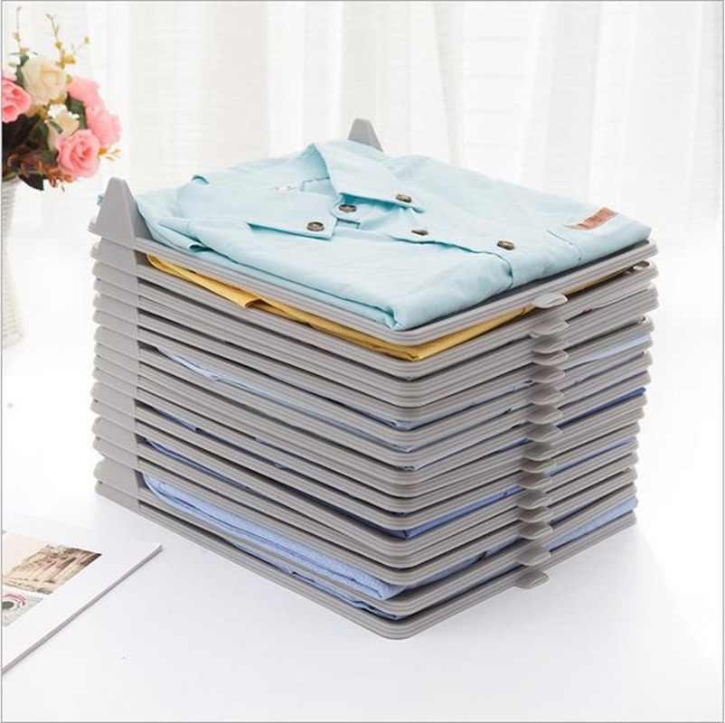 10 sztuk/zestaw przechowywanie odzieży deska do układania w stos organizator do koszuli przechowywanie w domu organizacja narzędzie do separacji przestrzeni H1234