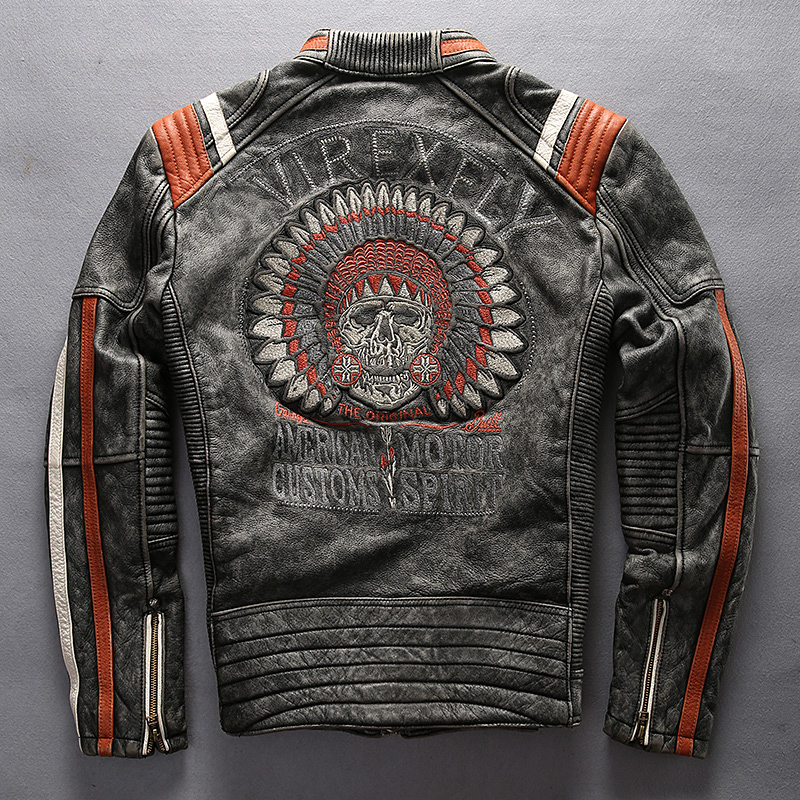 Super Offer ! A1627 Read Description! Asian Size Mans Genuine Cow Leather Rider Jacket Embroidery Cowhide Biker Jacket