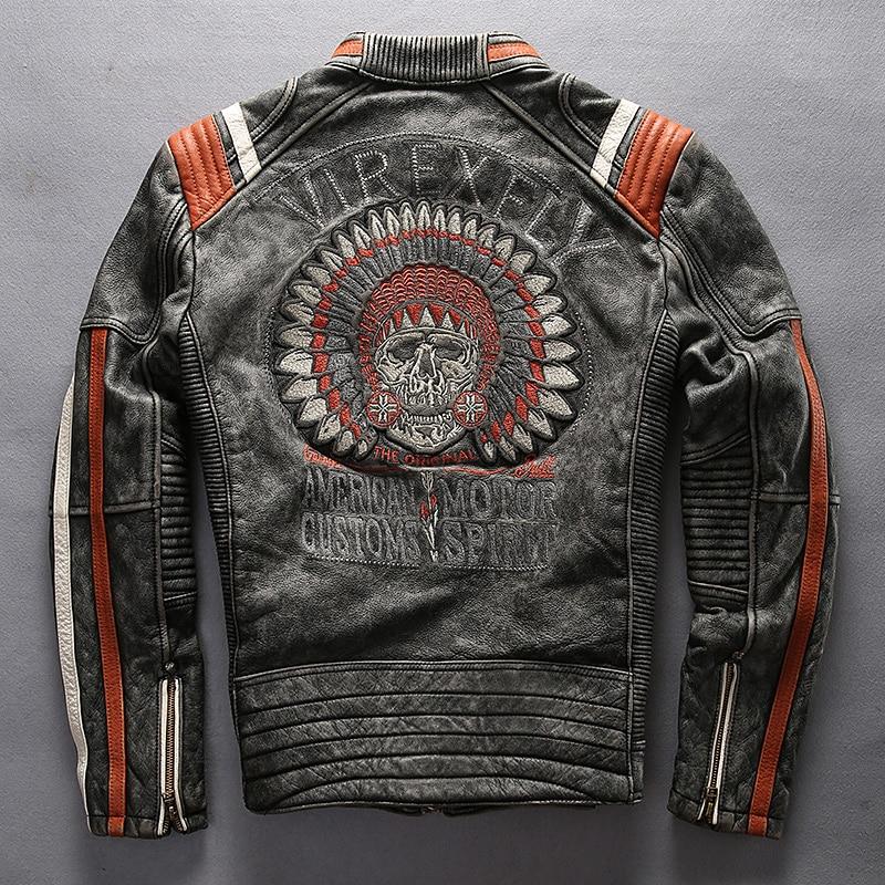 Super Offer ! A1627 Read Description! Asian Size Mans Genuine Cow Leather Rider Jacket Embroidery Cowhide Biker Jacket