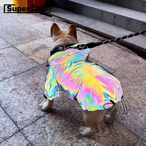 Image 1 - Fashion Dog Reflective Outdoor Jacket Windbreaker Waterproof Raincoat Clothes Pet Hoodie Coat French Bulldog Dropshipping TPC04