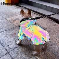 Fashion Dog Reflective Outdoor Jacket Windbreaker Waterproof Raincoat Clothes Pet Hoodie Coat French Bulldog Dropshipping TPC04