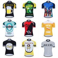 Moxilyn Mens Cycling Jerseys Top Skinsuit Cycling Clothing Mountain Bike MTB Breathable Sweat absorbing Quick drying I Love Beer