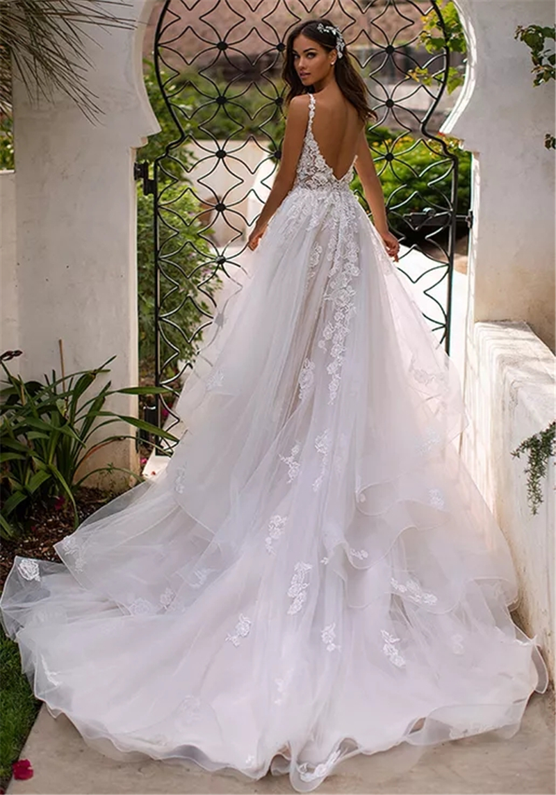 LORIE A Line Wedding Dress 3D Flowers Spaghetti Strap Bride Dress 2019 Backless Princess Long  Boho Floor Length Wedding Gown
