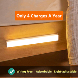 Ultra-thin 21/30/50CM PIR Motion Sensor LED Under Cabinet Light USB Rechargeable Wardrobe Cupboard Wall lamp Closet night light